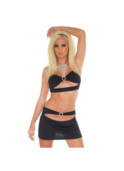 Black Mini Skirt and Crop Top UK Size 812 (Sexy Clubwear) by Peaches and Screams UK Sex Shop